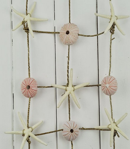 Seashell Wall Hanging seagrass Net Urchins and Starfish