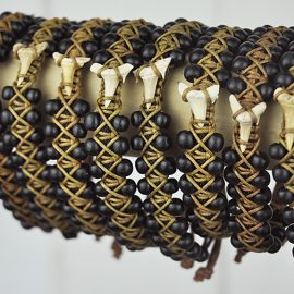 Beaded Bangle Black and Brown with shark tooth