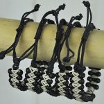 Beaded Bangle Black and Natural with shark tooth