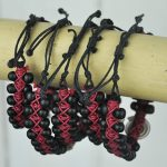 Beaded Bangle Black and Red with sundial