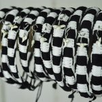 Beaded Bangle black and white with small shark tooth
