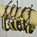Beaded Bangle Black and Yellow with sundial