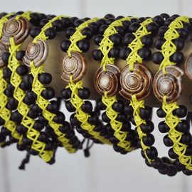 Beaded Bangle Black and Yellow with sundial